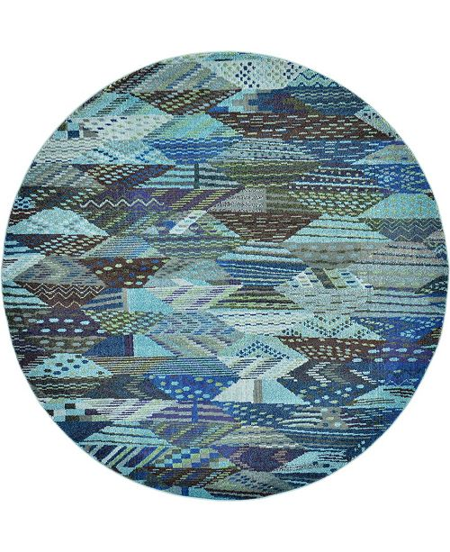 Bridgeport Home CLOSEOUT! Arcata Arc4 Blue 8' x 8' Round Area Rug