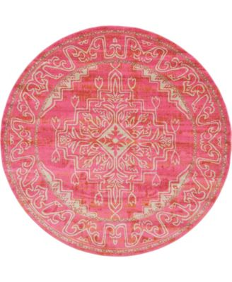 Aroa Aro8 Pink 8' x 8' Round Area Rug