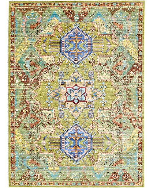 "Bridgeport Home Malin Mal5 Light Green 7' x 9' 10"" Area Rug"