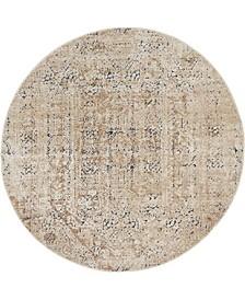 Odette Ode1 Beige 4' x 4' Round Area Rug
