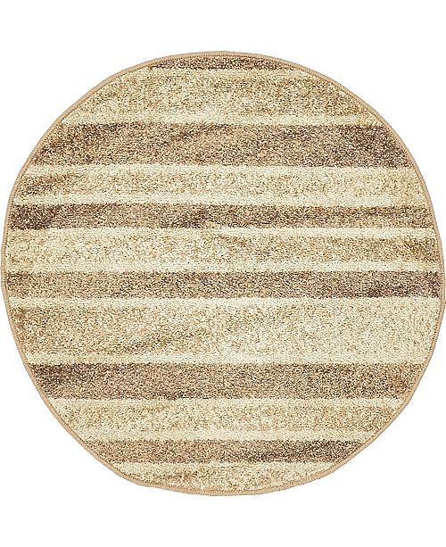 "Bridgeport Home Jasia Jas12 Beige 3' 3"" x 3' 3"" Round Area Rug"