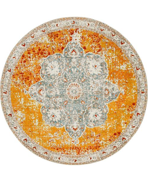 Bridgeport Home Mishti Mis8 Orange 8' x 8' Round Area Rug