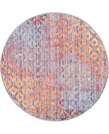 """Prizem Shag Prz2 Lilac 3' 3"""" x 3' 3"""" Round Area Rug"""