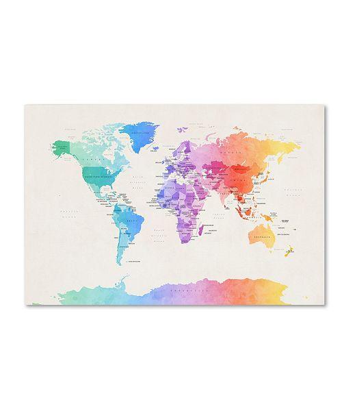 """Trademark Global Michael Tompsett 'Watercolor Political World Map' Canvas Art - 16"""" x 24"""""""