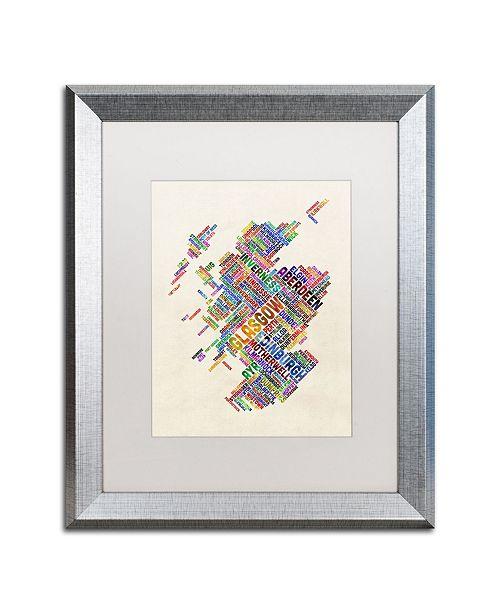 "Trademark Global Michael Tompsett 'Scotland Typography Text Map 4' Matted Framed Art - 16"" x 20"""