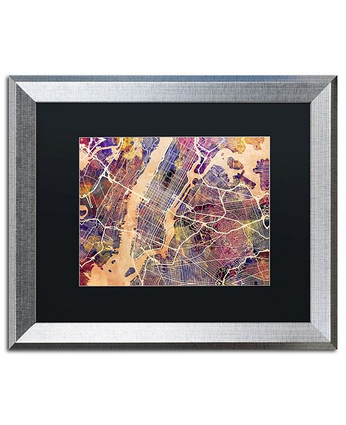 "Trademark Global Michael Tompsett 'New York City Street Map' Matted Framed Art - 16"" x 20"""