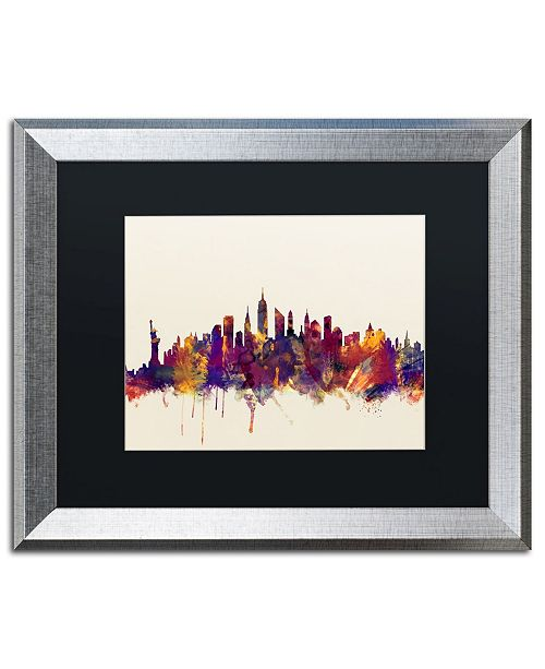 "Trademark Global Michael Tompsett 'New York City Skyline' Matted Framed Art - 16"" x 20"""