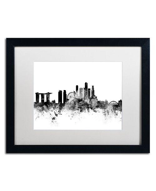 """Trademark Global Michael Tompsett 'Singapore Skyline B&W' Matted Framed Art - 16"""" x 20"""""""