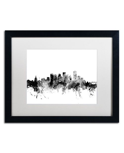 "Trademark Global Michael Tompsett 'Edmonton Canada Skyline B&W' Matted Framed Art - 16"" x 20"""