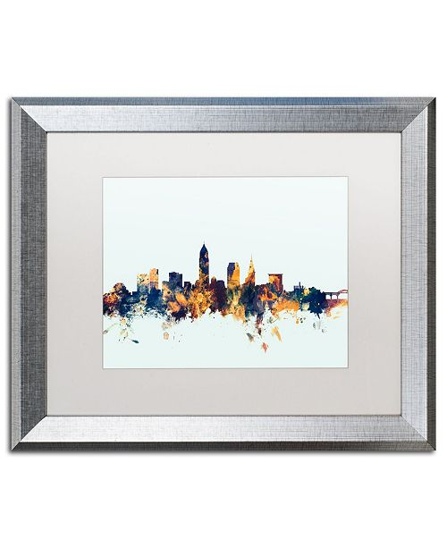 "Trademark Global Michael Tompsett 'Cleveland Ohio Skyline Blue' Matted Framed Art - 16"" x 20"""