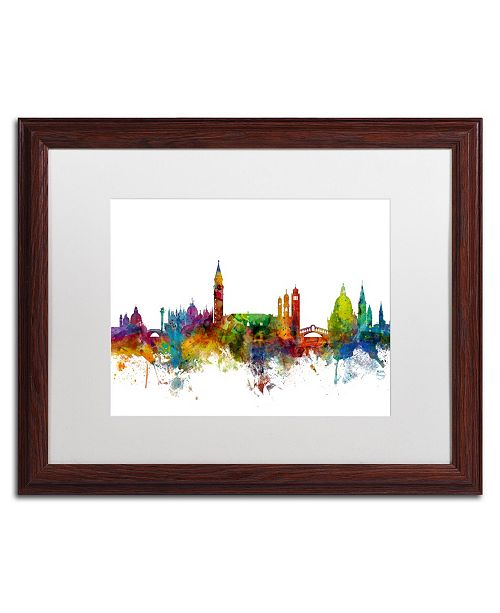 "Trademark Global Michael Tompsett 'Venice Italy Skyline White' Matted Framed Art - 16"" x 20"""