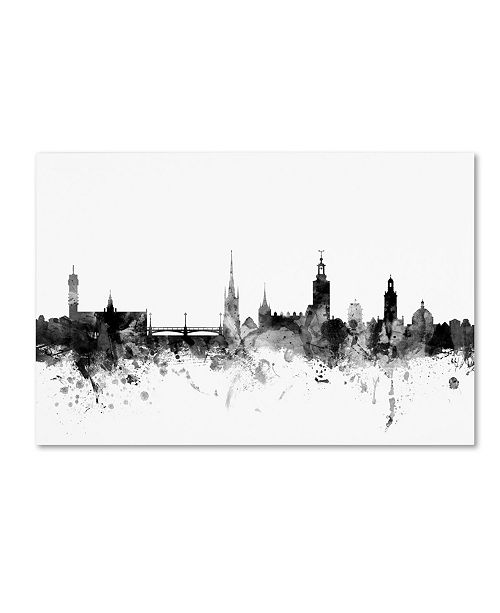 "Trademark Global Michael Tompsett 'Stockholm Sweden Skyline B&W' Canvas Art - 16"" x 24"""