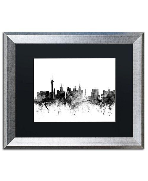 """Trademark Global Michael Tompsett 'Las Vegas Nevada Skyline B&W' Matted Framed Art - 16"""" x 20"""""""