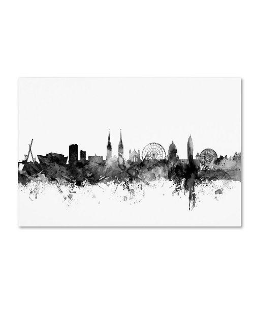 "Trademark Global Michael Tompsett 'Belfast N. Ireland Skyline B&W' Canvas Art - 16"" x 24"""