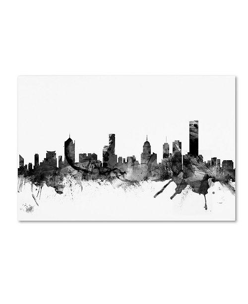 "Trademark Global Michael Tompsett 'Melbourne Skyline B&W' Canvas Art - 16"" x 24"""