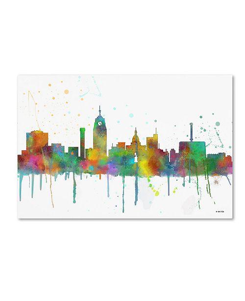 "Trademark Global Marlene Watson 'Lansing Michigan Skyline Mclr-1' Canvas Art - 16"" x 24"""