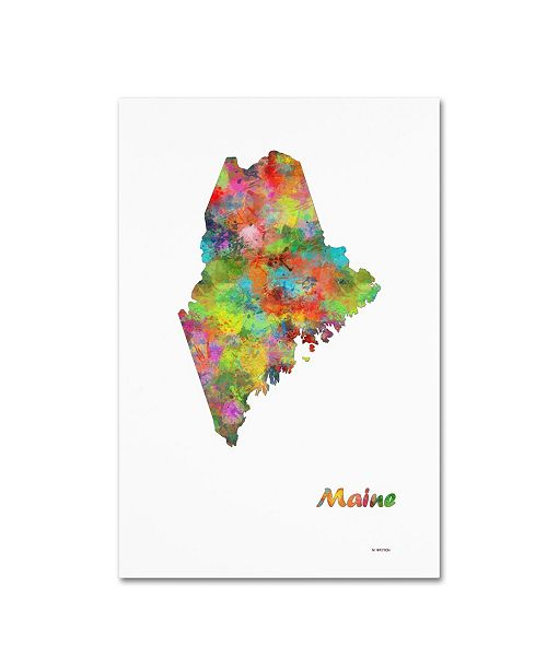 "Trademark Global Marlene Watson 'Maine State Map-1' Canvas Art - 16"" x 24"""