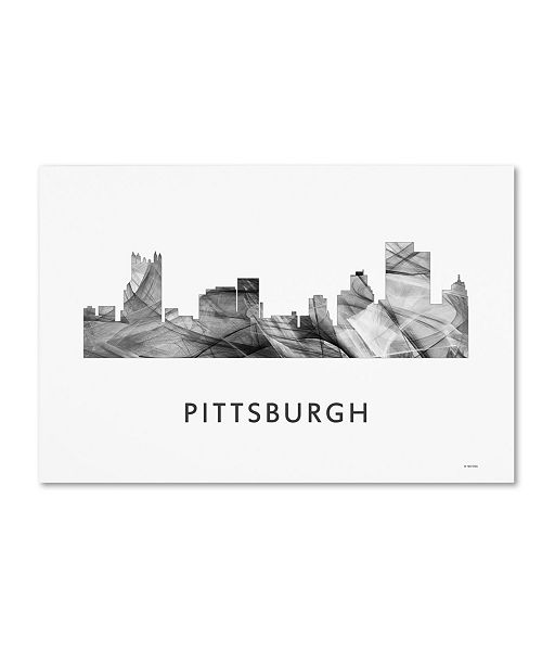 "Trademark Global Marlene Watson 'Pittsburgh Pennsylvania Skyline WB-BW' Canvas Art - 16"" x 24"""
