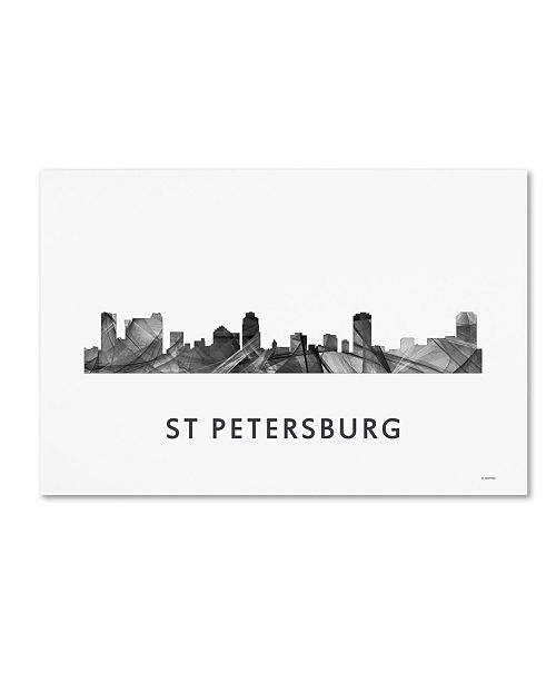 "Trademark Global Marlene Watson 'St Petersburg Florida Skyline WB-BW' Canvas Art - 16"" x 24"""