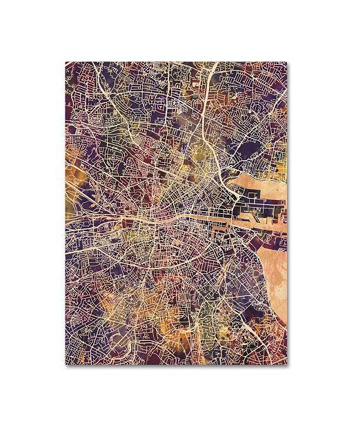 "Trademark Global Michael Tompsett 'Dublin Ireland City Map II' Canvas Art - 18"" x 24"""