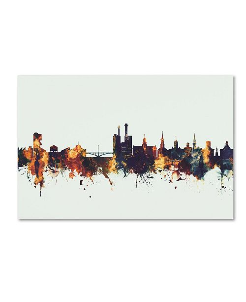 "Trademark Global Michael Tompsett 'Iowa City Iowa Skyline V' Canvas Art - 16"" x 24"""