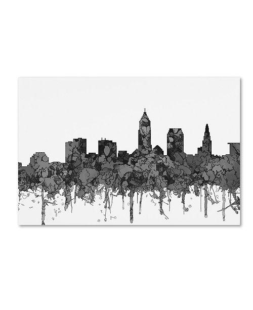 "Trademark Global Marlene Watson 'Cleveland Ohio Skyline BW' Canvas Art - 16"" x 24"""