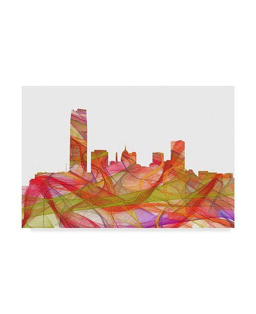 "Trademark Global Marlene Watson 'Oklahoma City Oklahoma Skyline Swirl' Canvas Art - 16"" x 24"""