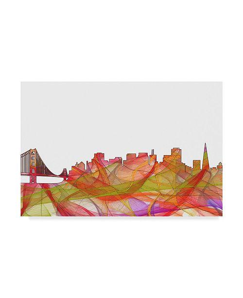 """Trademark Global Marlene Watson 'San Francisco California Skyline Swirl' Canvas Art - 16"""" x 24"""""""