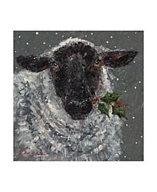 "Mary Miller Veazie 'Wren The Christmas Sheep' Canvas Art - 18"" x 18"""