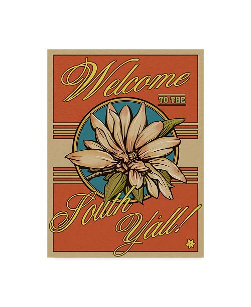"""Trademark Global Old Red Truck 'Welcome to the South' Canvas Art - 18"""" x 24"""""""