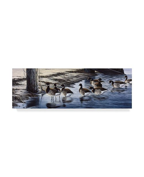 "Trademark Global Wilhelm Goebel 'Brant Coming Ashore' Canvas Art - 16"" x 47"""