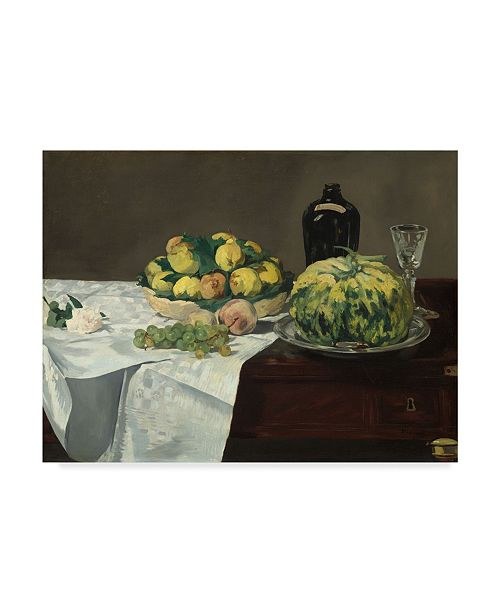 "Trademark Global Edouard Manet 'Still Life With Melon And Peaches' Canvas Art - 19"" x 14"""