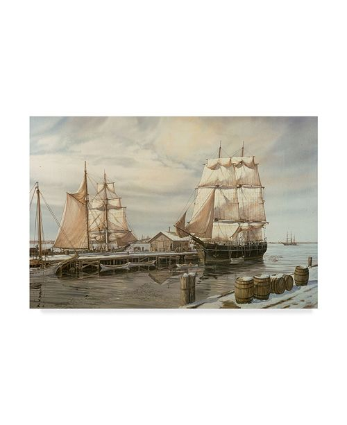 "Trademark Global Jack Wemp 'Drying Sails - New Bedford' Canvas Art - 24"" x 16"""