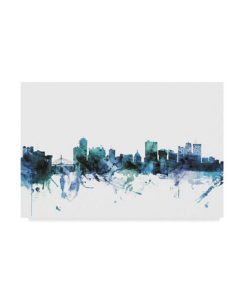 "Trademark Global Michael Tompsett 'Winnipeg Canada Blue Teal Skyline' Canvas Art - 19"" x 12"""