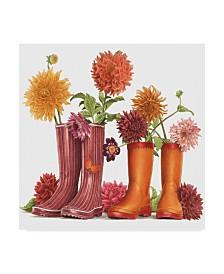 "Francien Van Westering 'Rain Boots And Flowers' Canvas Art - 18"" x 18"""