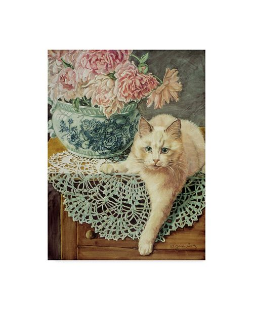 """Trademark Global Jan Benz 'Peonies And Lace' Canvas Art - 24"""" x 32"""""""