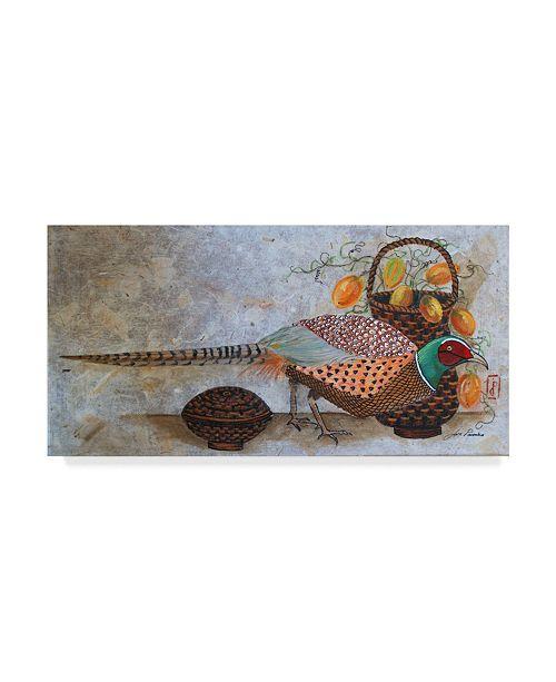"Trademark Global Jan Panico 'Pheasant Basket' Canvas Art - 24"" x 12"""
