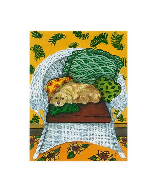 "Trademark Global Jan Panico 'Dog On Wicker Chair' Canvas Art - 24"" x 32"""