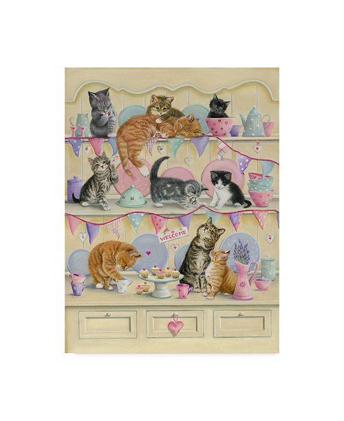 """Trademark Global Janet Pidoux 'Kittens On Dresser' Canvas Art - 18"""" x 24"""""""