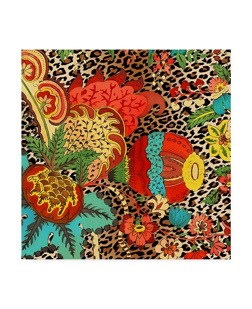 "Trademark Global Jean Plout 'Floral Leopard 2' Canvas Art - 18"" x 18"""