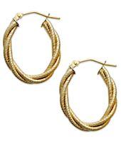 Italian Gold Textured Braided Oval Hoop Earrings in 14k Gold
