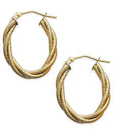 Italian Gold Textured Braided Oval Hoop Earrings in 14k Gold