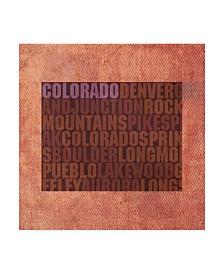 """Red Atlas Designs 'Colorado State Words' Canvas Art - 14"""" x 14"""""""