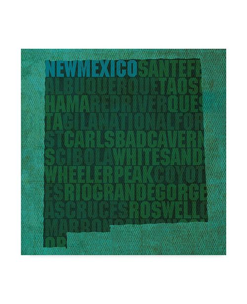 "Trademark Global Red Atlas Designs 'New Mexico State Words' Canvas Art - 18"" x 18"""