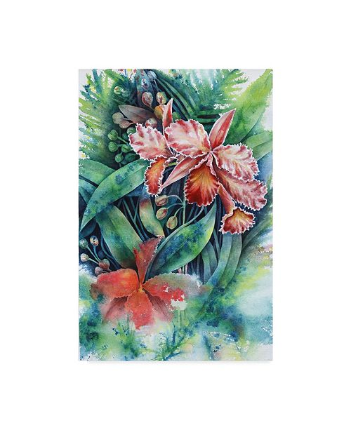 """Trademark Global Michelle Faber 'Red Orchid' Canvas Art - 12"""" x 19"""""""