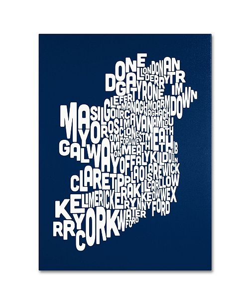 "Trademark Global Michael Tompsett 'NAVY-Ireland Text Map' Canvas Art - 18"" x 24"""