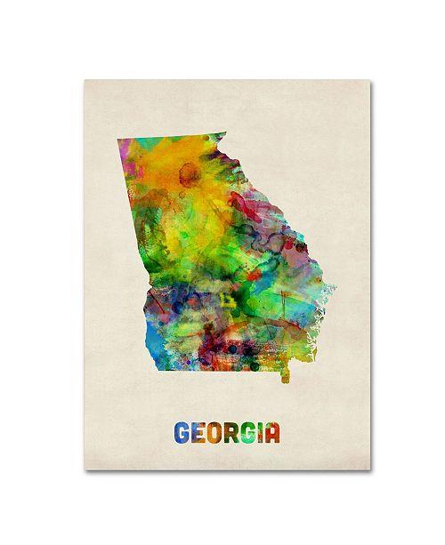 "Trademark Global Michael Tompsett 'Georgia Map' Canvas Art - 19"" x 14"""