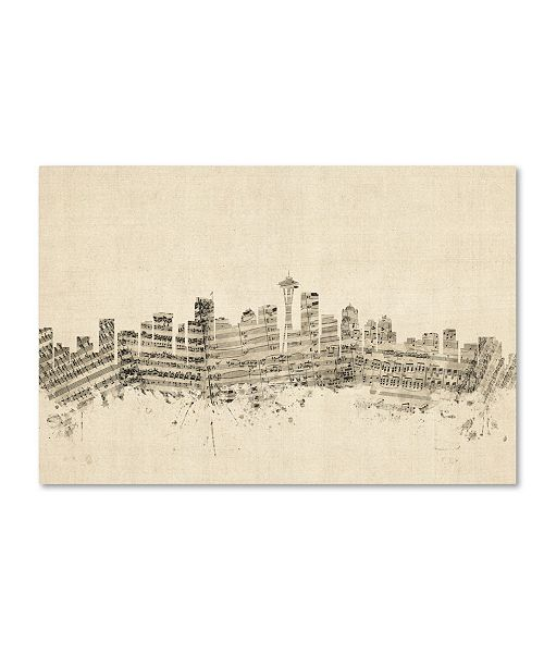 "Trademark Global Michael Tompsett 'Seattle Washington Skyline Sheet Music' Canvas Art - 16"" x 24"""