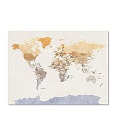 "Michael Tompsett 'Watercolour Political Map of the World' Canvas Art - 18"" x 24"""