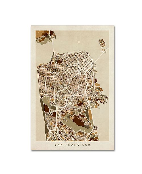 "Trademark Global Michael Tompsett 'San Francisco City Street Map' Canvas Art - 16"" x 24"""